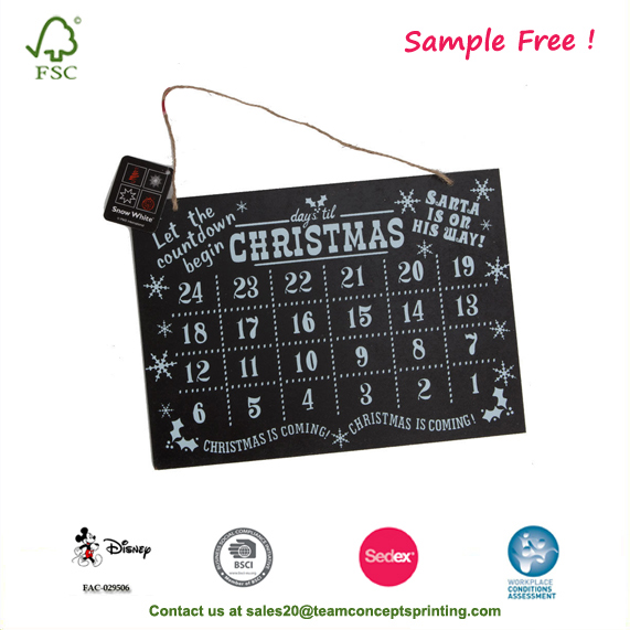 Santa Advent Calendar Countdown Hanging Blackboard