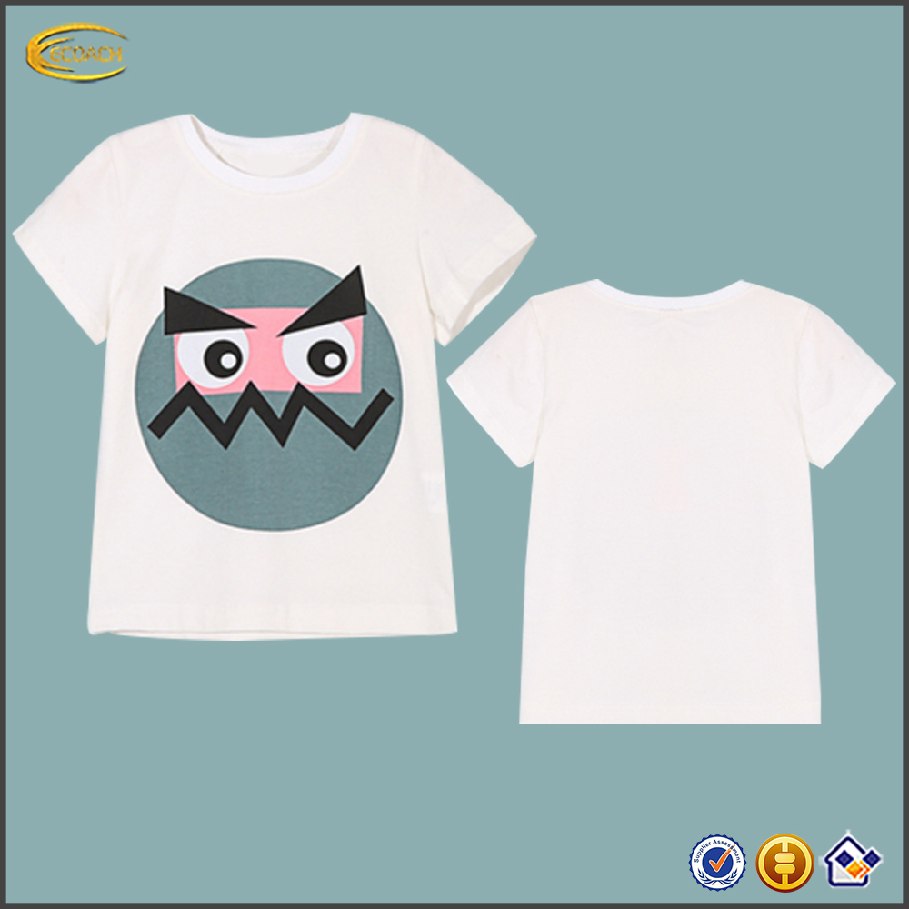 Ecoach 2016 Unisex blank white cartoon clown face print front short sleeves tee shirt Wholesale high quality crew neck t-shirts
