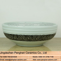 Chinese color glazed artistic ceramic modern round bathroom sinks italian classic