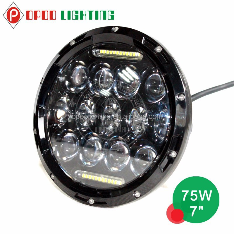 High power 75w 7 inch round led headlight hi and low beam for Jeep