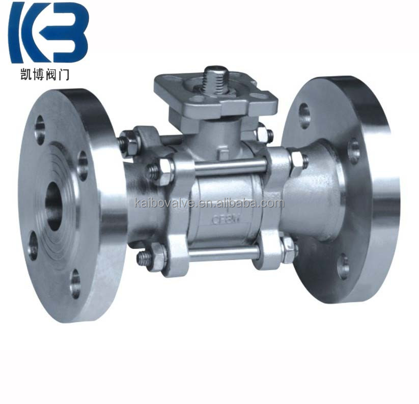 3PC Ball valve with flange(high mounting pad) made in China