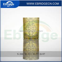 printing candle cup/ round glass yellow candle holder