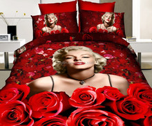 2014 red rose and Marilyn Monroe print cotton 5d bedding sets
