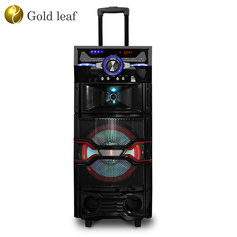 "High quality 10"" woofer amplified wireless connected LED loud speaker 80 watt mobile trolley speakers with light"
