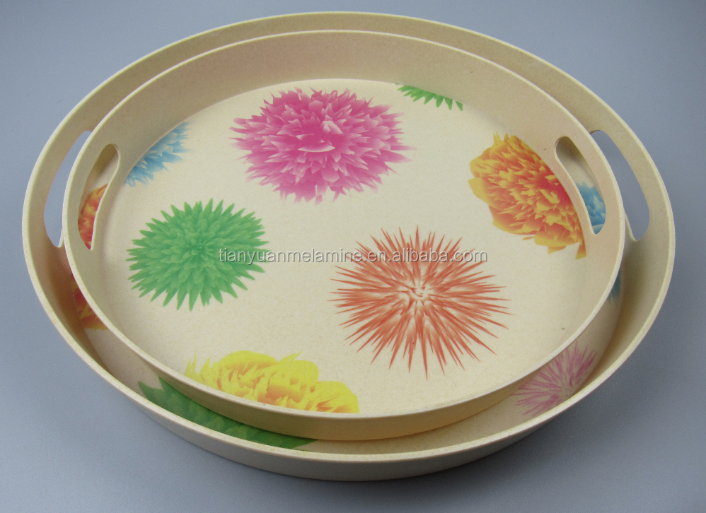 Round Promotional bamboo fiber tableware, bamboo fiber tray