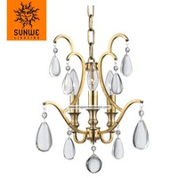 Contemporary 3 lights mini crystal chandelier with Aged Brass finish
