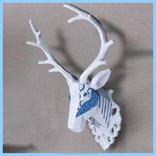Resin Deer Head Antler Wall Ornament Mantel Staging Home Decor Blue And White