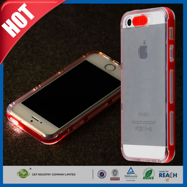 C&T LED Flash Clear TPU Back PC Hard Frame Case Cover For iPhone 5 5S