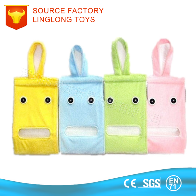 Plush Paper Napkin Holder Car Toilet Hanging Container Tissue Cover Colorful Plush Tissue Box