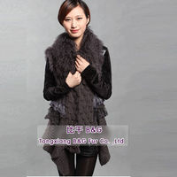 BG27869 Genuine Rabbit Fur Vest with Mongolia Sheep Fur Gilet OEM 2013 Fashion Wholesale Retail Rabbit Fur Vest