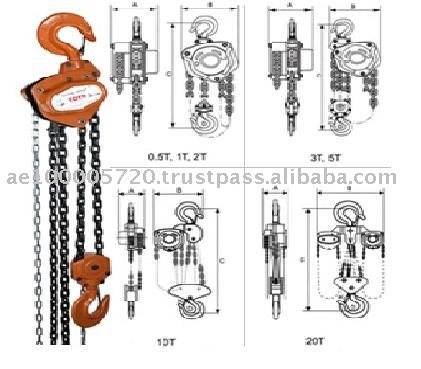 TCB type manual chain hoist (0.5T to 30T)