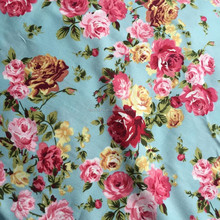 2015 Hot 145CM Width Blue 100% Cotton Floral Fabric For Hanmade Sewing Dress
