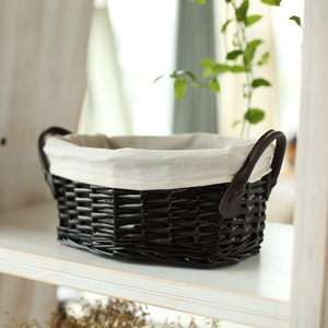 YRMT,Easter basket handmade black wicker basket with lining