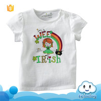 ST-338G kids wear new model baby stylish frock kids cartoon t-shirt pictures