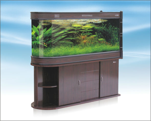 Bullet aquarium fish tank with cabinet