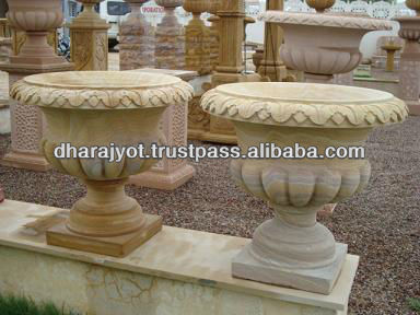 Yellow Rainbow Sandstone Designing Carved Flower Vases