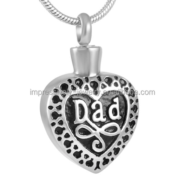 IJD8374 Fashion keepsake heart shaped 316l stainless steel Necklace Silver dad heart cremation pendant