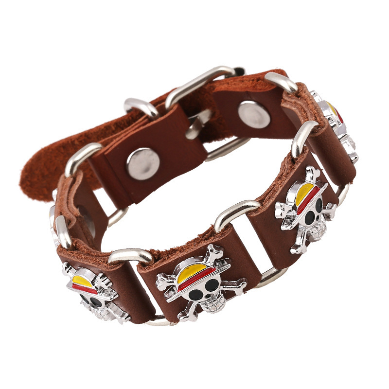 Tryme Distribution Pirate Human skeleton Head Genuine leather Bracelet Optional Comic The surrounding Ornaments Cowhide Bracelet