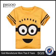 MGOO New Arrival Children Clothes Wholesale Custom Made Minions Cartoon Digital Printing Short Sleeve T Shirts For Kids