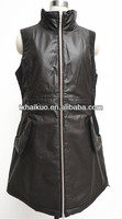 ladies brown sheep leather sleeveless vest fanncy dress