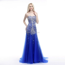 Deep sapphire blue ong sleeve in the tail Europe and America new style Beautiful evening dress new model 2016 wedding dress