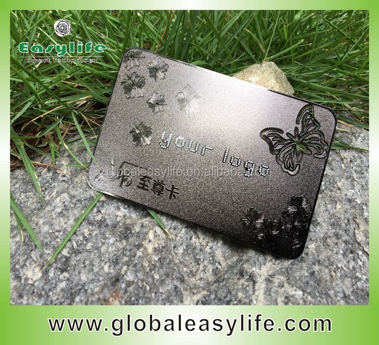 Gun metal color plated/ grinder metal vip membership card