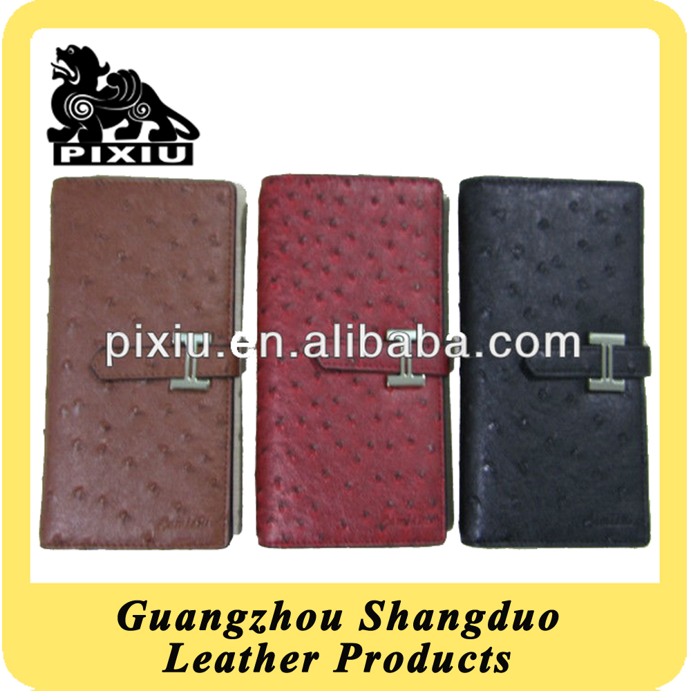 New Faux Ostrich Leather Wallets Foldable Clutch Bags For Women
