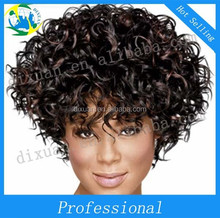 Black high temperature silk fluffy short rolls Europe and the United States wig set