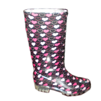 sweet heart print women PVC rain boots,fancy waterproof jelly shoes,OEM good quality boots manufacturer