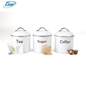 coffee/sugar/tea canisters metal kitchen storage bucket jar