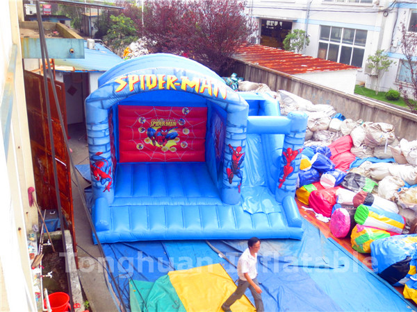 2016 superman inflatable house/ inflatable bouncy castle slide