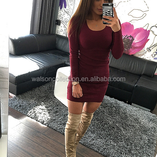 Jumper Long Sweater Tops Ladies Womens Knitted Mini Dress Women V Neck Knitted Tunic Mini Dress
