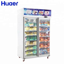 commercial removable showcase double door upright freezer