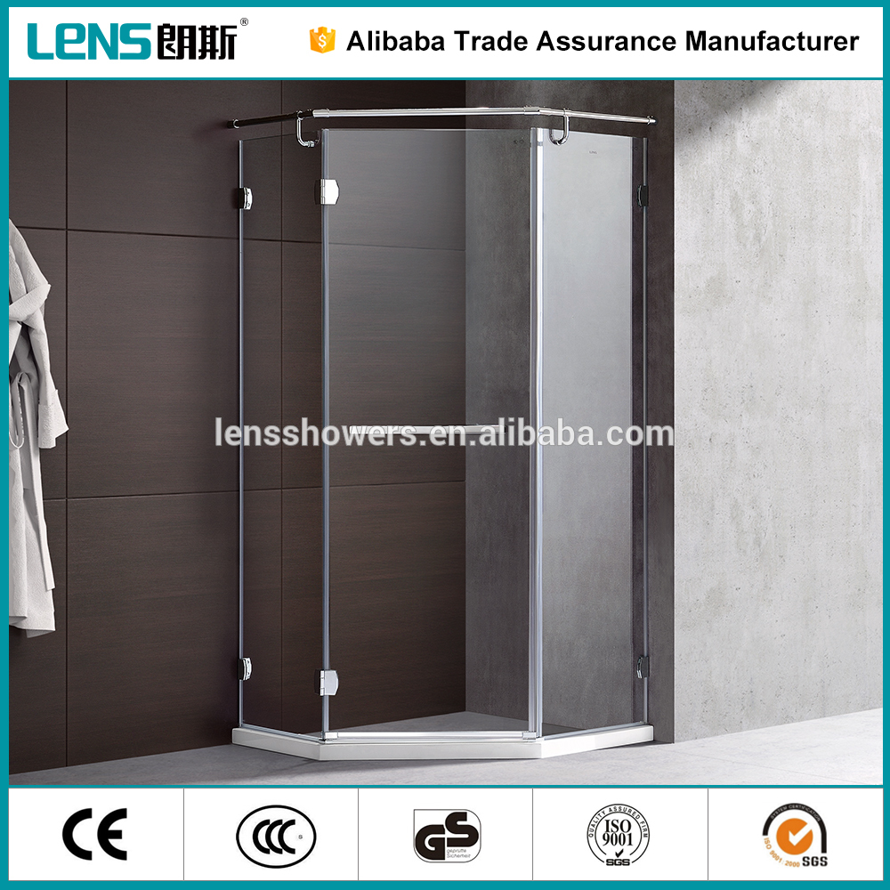 Dubai Import Tempered Glass 304SS Walk In Shower Cabin