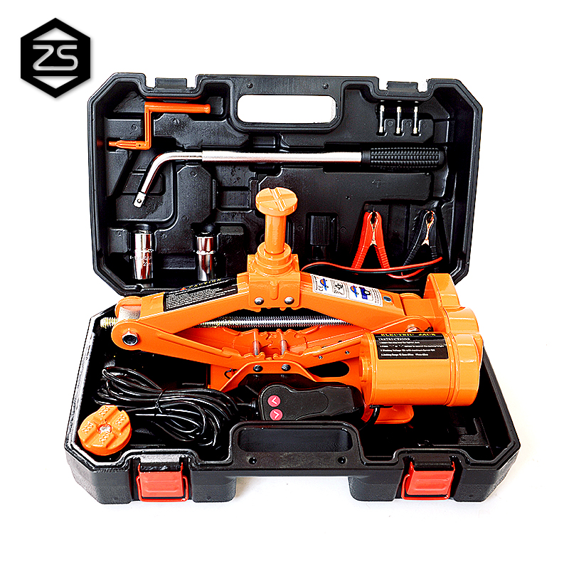 High lift portable 12v electric car scissor jack impact wrench
