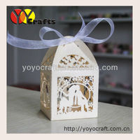 supply Party and wedding decorations mini laser cut bride and groom sweet and favor gift boxes souvenir wedding cake box