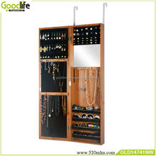 Beautiful color hang over the door wood mirror jewelry cabinet