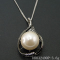 Black Plated Cubic Zirconia Paved drop shape Wholesale Freshwater Pearls Pendant DR032490P