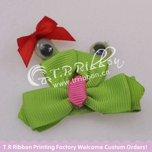 cute frog small ribbon bow for baby girls hair grips about 2inches