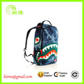 Heavy cloth printing logo embroidery Shark jeans backpack