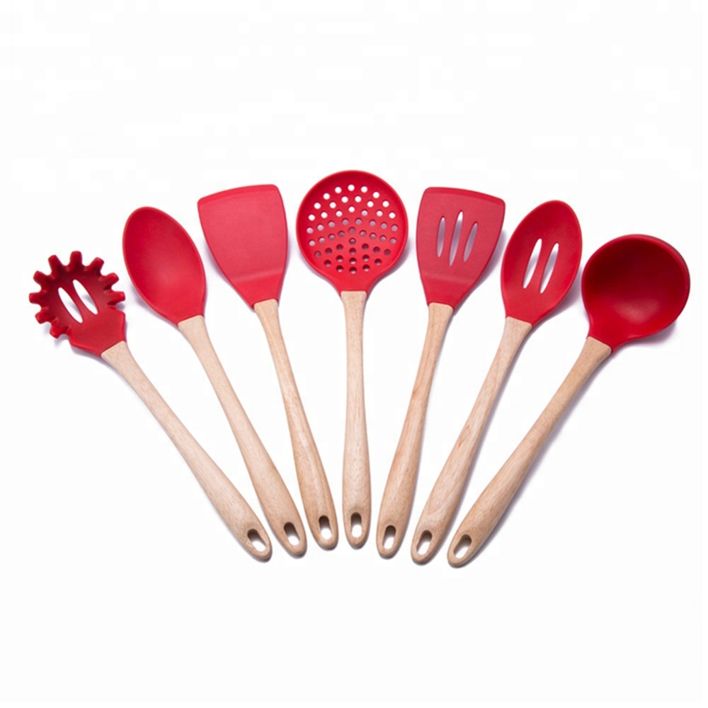 Hot Selling Non-stick Heat-resistant Wholesale Bamboo Cooking Utensil <strong>Set</strong>/ Silicone Kitchen Utensils with Bamboo Handle