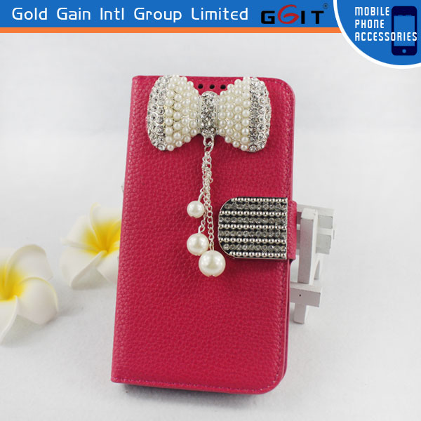 High Quality Litchi Pattern Leather Case for Samsung S4 i9500 with Luxury Butterfly Diamond