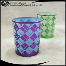 90ml/3oz grid square pattern blue glass candle holder/container