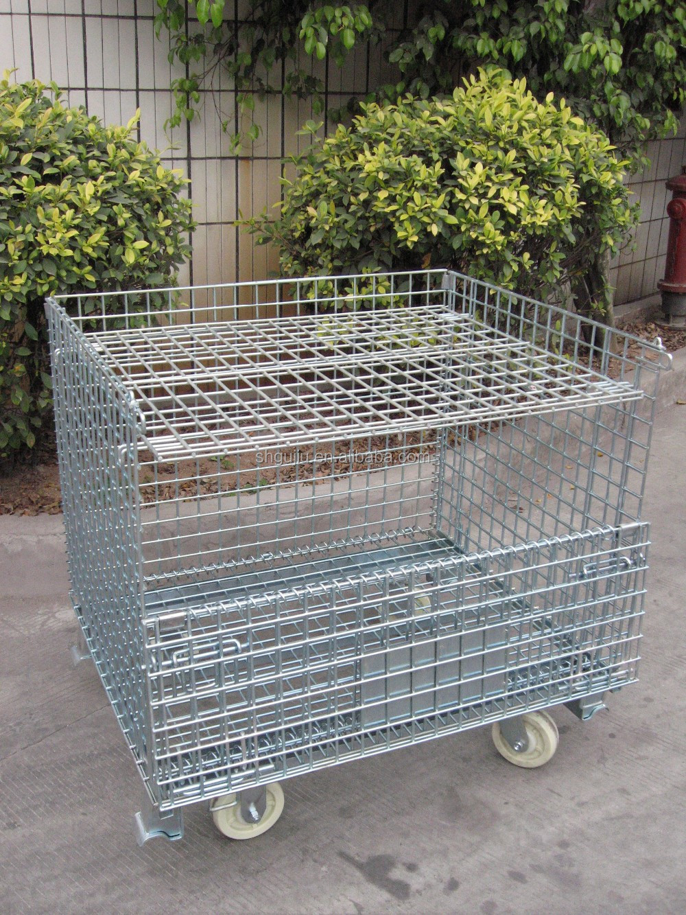 wire mesh folding stacking storage metal cage