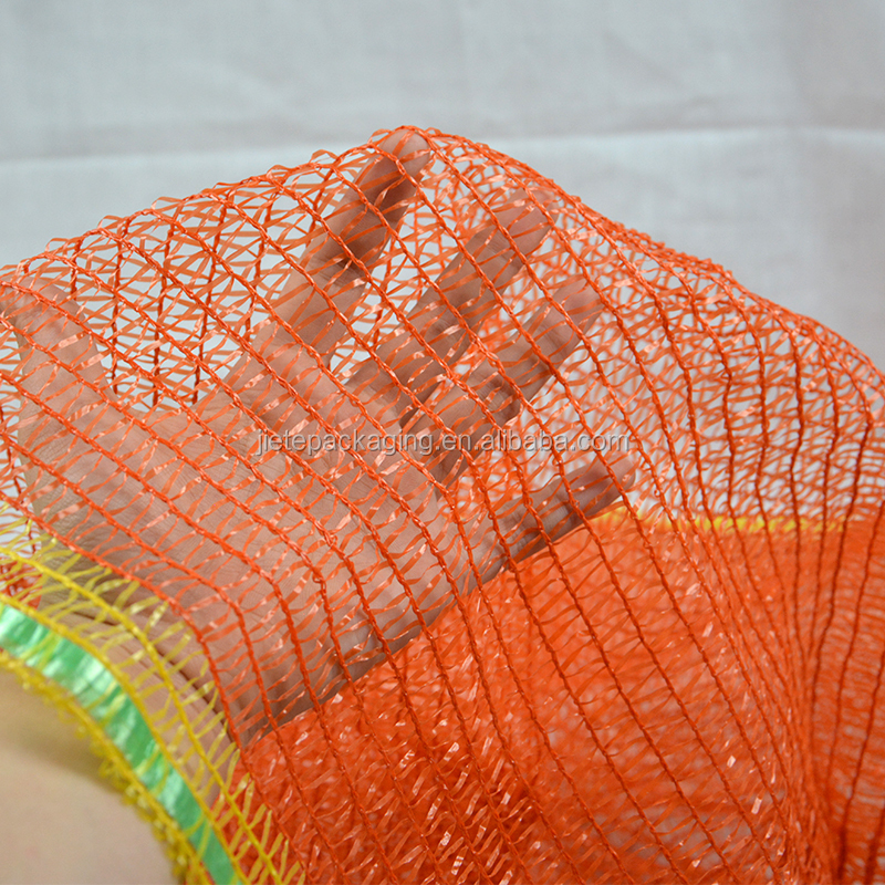 Orange PE raschel plastic mesh bags for packing seafood shopping bag made in China