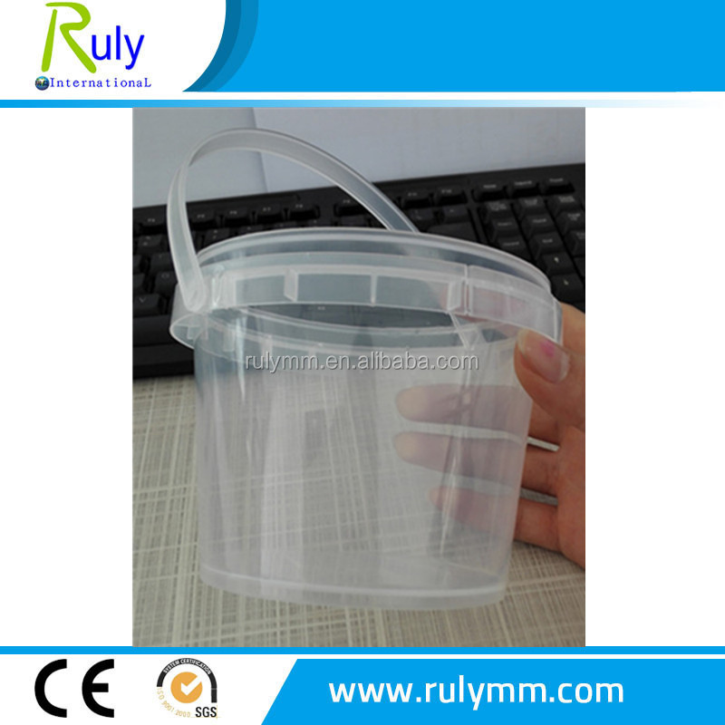 Food industry using clear plastic buckets with lid with handle