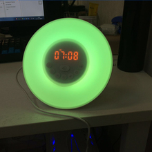 white light and color changing led lighted table clock