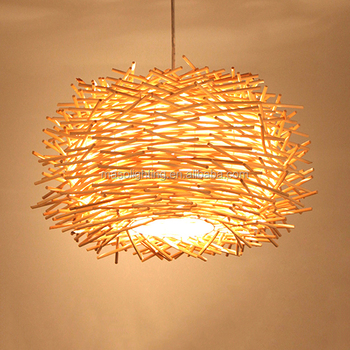 Indoor modern pendant light wood hanging lamp handmade bamboo material birdnest shade lamp