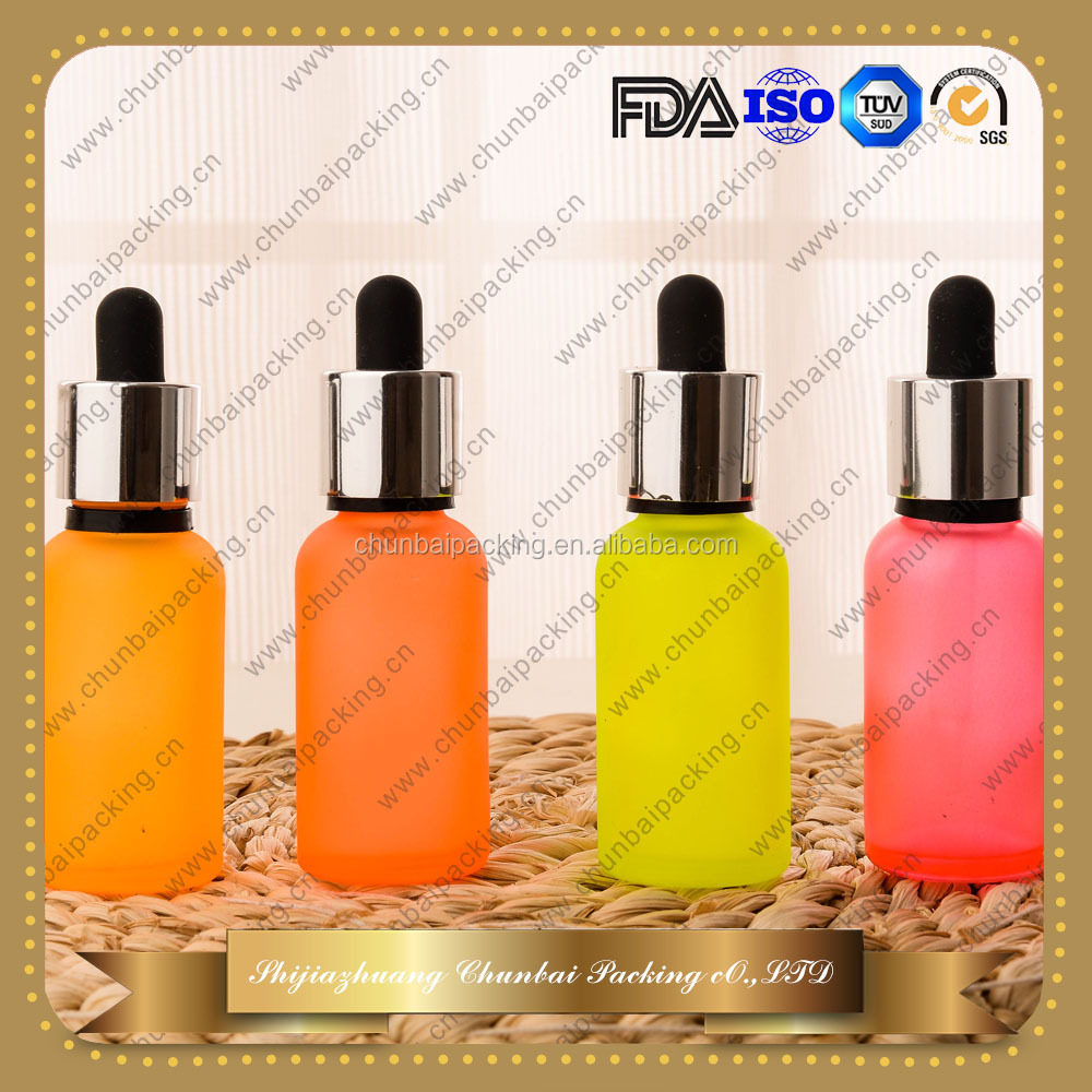 hot sale 30ml colored frosted glass bottle 30ml essential oil glass dropper bottle