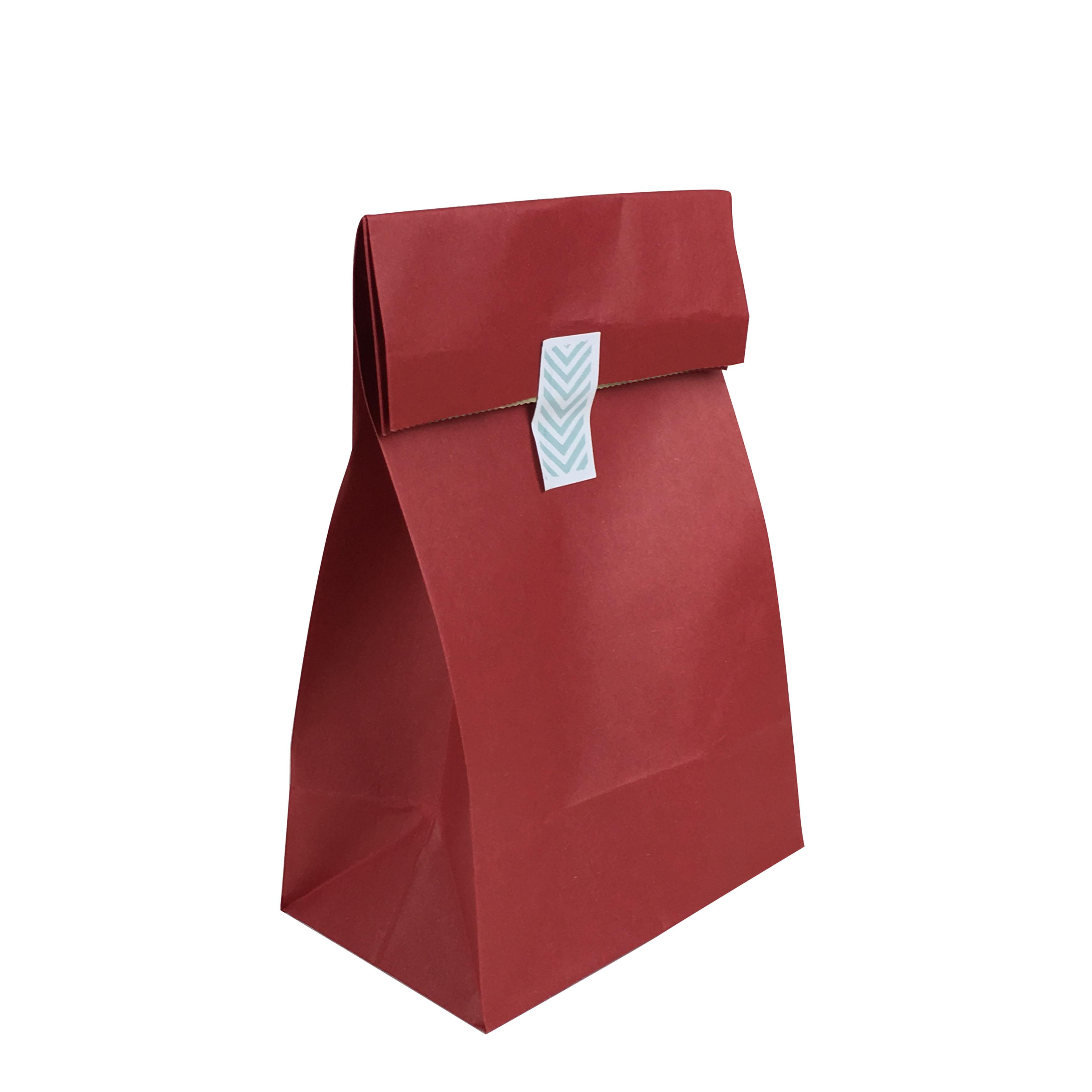 Recyclable sandwich bread food packaging red paper bag